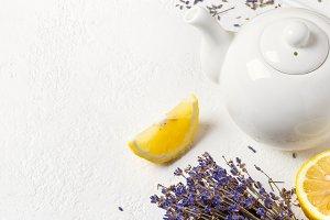 Herbal Natural Ingredients for Tea: lavender, ginger, lemon