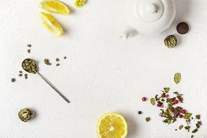 Tea concept. Selection of different varieties of tea