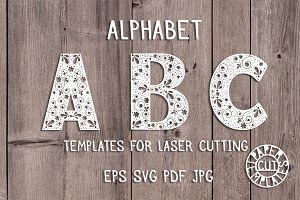 Alphabet template for paper cutting.