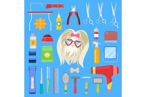 Grooming vector dog character with haircut and tools scissors comb or brush for hairstyle in groomer salon illustration set of groomed doggy equipment isolated on background