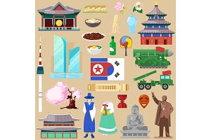 Korea vector korean traditional culture symbol of southkorea or northkorea country illustration tourism set of gyeongbokgung palace architecture and oriental cuisine isolated on background