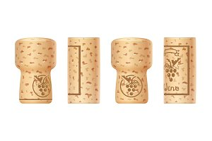 Grapes wine bottle cork. Set of Wooden