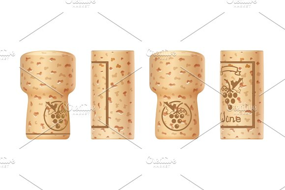 Grapes Wine Bottle Cork Set Of Wooden