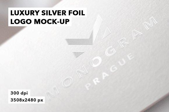 Luxury Silver Foil Logo Mockup Badge