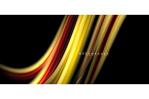 Multicolored wave lines on black background design