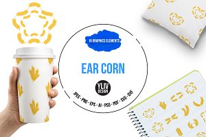 Ear corn icons set, cartoon style