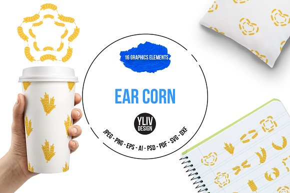 Ear Corn Icons Set Cartoon Style