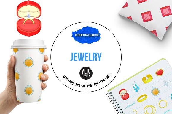 Jewelry Items Icons Set Cartoon Sty