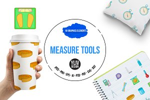 Measure tools icons set, cartoon