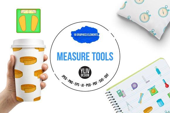 Measure Tools Icons Set Cartoon