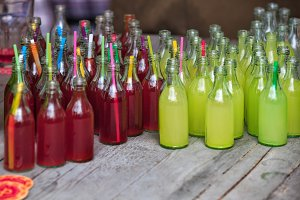 vivid drink in glass bottles