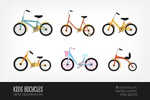 Kids bicycles of various types