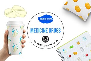 Medicine drugs icons set, cartoon
