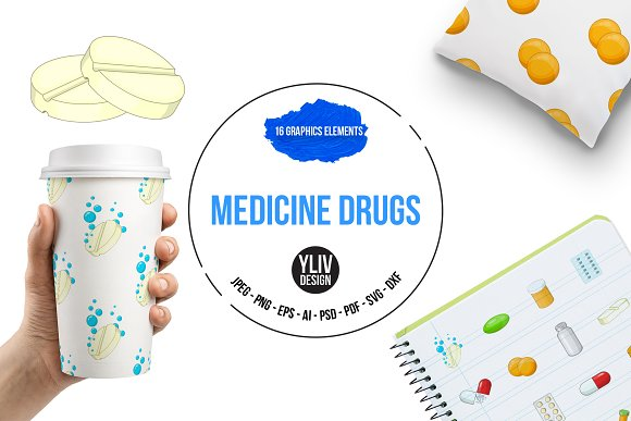 Medicine Drugs Icons Set Cartoon