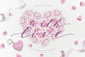 With love - watercolor romantic set
