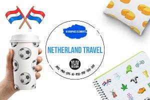 Netherland travel icons set, cartoon