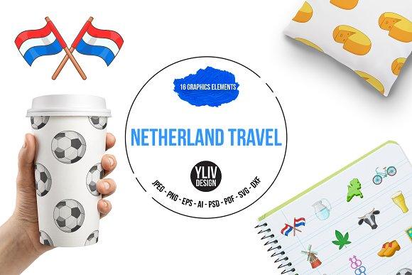 Netherland Travel Icons Set Cartoon