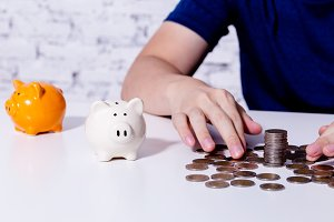 Young man collecting money coins and allocate coins into categories - risk management and investment concept