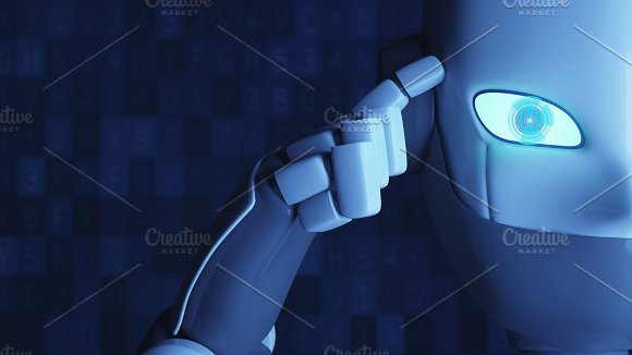 Robot Thinking Isolated On Blue Finger Touching The Head Artificial Intelligence In Futuristic Technology Concept 3D Illustration