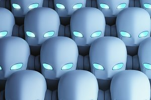 Group of robots, artificial intelligence in futuristic technology concept, 3d illustration