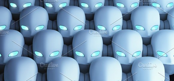 Group Of Robots Artificial Intelligence In Futuristic Technology Concept 3D Illustration