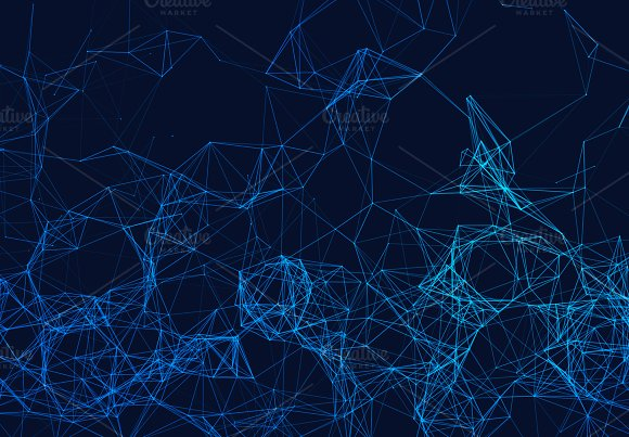 Blue Network Connection Lines On Black Futuristic Background For Technology Concept Abstract Illustration