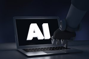 Robot finger touching a laptop computer with AI text. Artificial intelligence in futuristic technology concept, 3d illustration