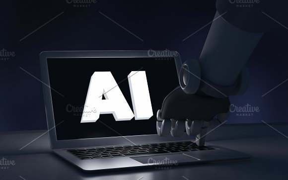 Robot Finger Touching A Laptop Computer With AI Text Artificial Intelligence In Futuristic Technology Concept 3D Illustration