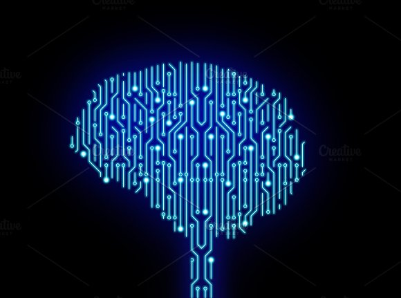Circuit Board In Brain Shape On Black High-tech Technology Background 3D Illustration