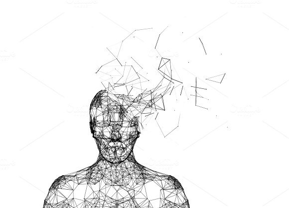 Shattered Human Head Isolated On White Artificial Intelligence In Futuristic Technology Concept 3D Illustration