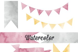 Watercolor Texture Ribbon Graphics