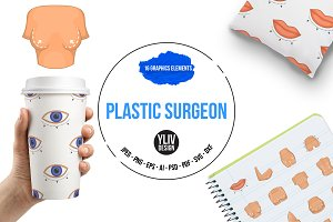 Plastic surgeon icons set, cartoon