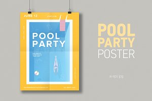 Pool party vertical poster