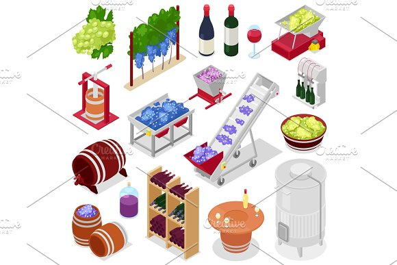Winery Vector Wine Alcohol In Winebottles Or Wineglass With Grape Or Grapevine On Winemaking Illustration Set Of Vine-making With Winecellar Isolated On Background
