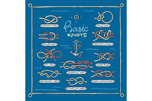 Knot vector marine knotty bow or nautical bowed rope with knotted loop illustration set of overhand or square bowknots isolated on background