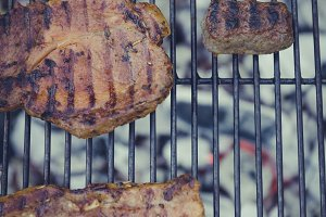 barbecue with steak and cevapcici