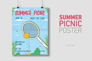 Summer picnic vertical poster
