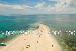 Aerial view beautiful beach on tropical island. Siargao island, Philippines.