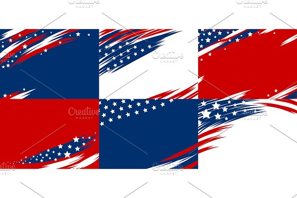 Set Of USA Banner Background