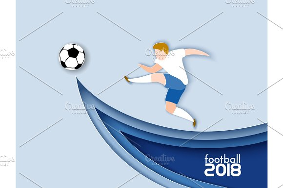 Football Player 2018 Paper Cut Style