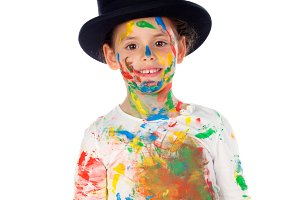 funny child dirty with paint