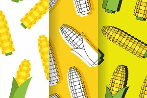 Seamless pattern with corn