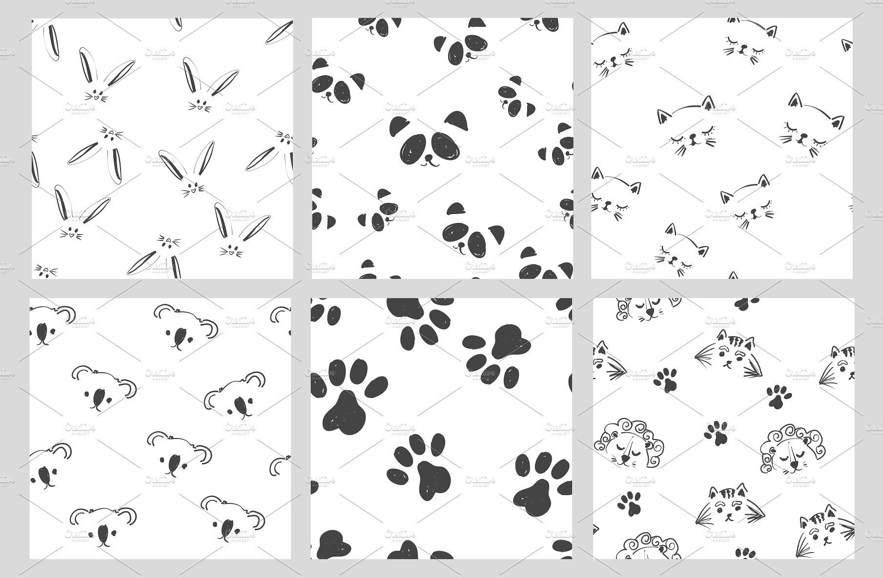 Cute Black And White Patterns Pre Designed Vector Graphics Creative Market