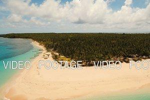 Aerial view beautiful beach on tropical island. Daco island, Philippines, Siargao.