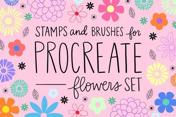 Procreate Stamp Flowers Set