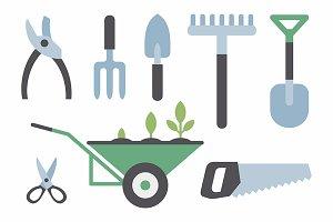 gardening instruments + pattern