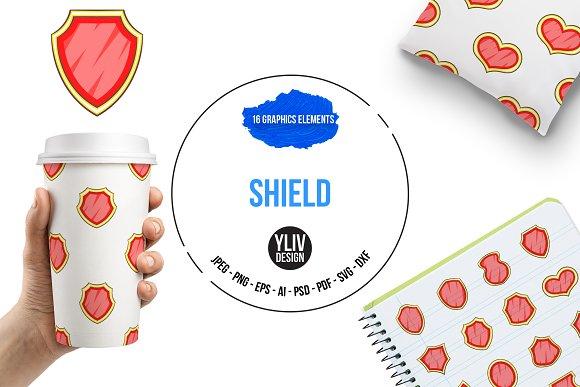 Shield Icons Set Cartoon Style