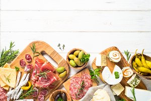 Antipasto delicatessen - meat, cheese and olives.