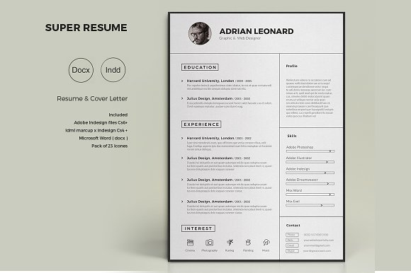 super resume resume templates creative market