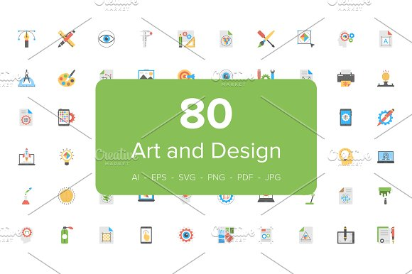 80 Art And Design Flat Icons Set